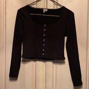 ASOS Black Ribbed  Long Sleeve Crop Top